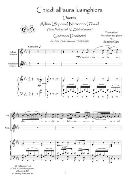 Donizetti-L'Elisir d'amore-Chiedi all'aura lusinghiera (Act1) Soprano, tenor and piano
