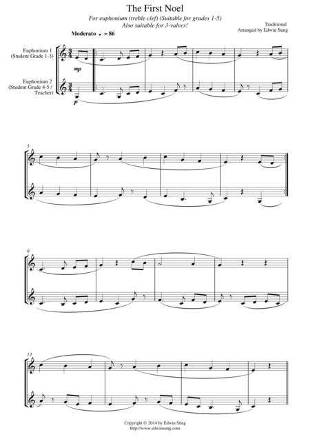 The First Noel (for euphonium duet (Bb treble, 3 or 4 valved), suitable for grades 1-5)