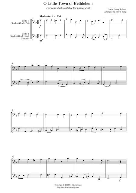 O Little Town of Bethlehem (for cello duet, suitable for grades 2-6)
