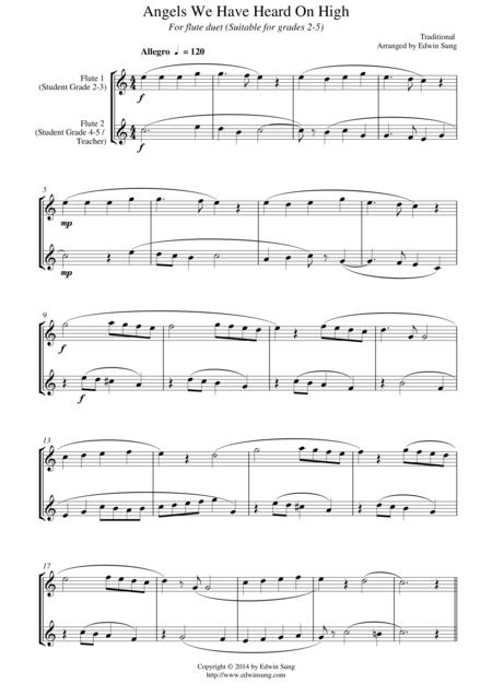 angels we have heard on high (for flute duet, suitable for grades 2-6) by  traditional - digital sheet music for score,sheet music single - download &  print s0.32035 | sheet music plus  sheet music plus
