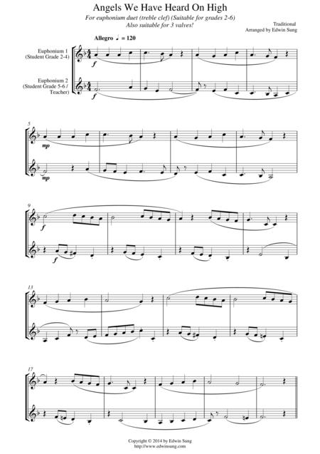 Angels We Have Heard On High (for euphonium duet (Bb treble, 3 or 4 valved), suitable for grades 2-6)