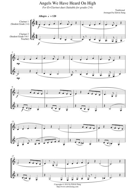 Angels We Have Heard On High (for Eb-Clarinet duet, suitable for grades 2-6)
