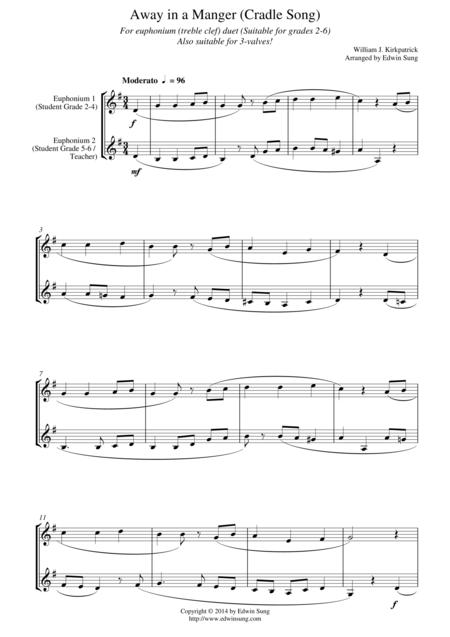 Away in a Manger (Cradle Song) (for euphonium duet (Bb treble, 3 or 4 valved), suitable for grades 2-6)