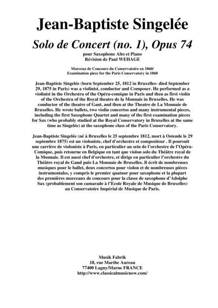 Jean-Baptiste Singelée Solo de Concert (no. 1), Opus 74 pour Saxophone Alto et Piano, editted by Paul Wehage