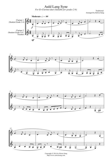 Auld Lang Syne (for Eb-clarinet duet, suitable for grades 2-6)