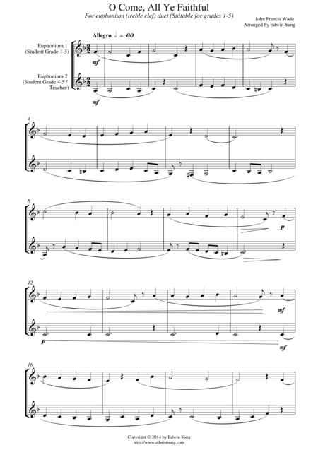 O Come, All Ye Faithful (for euphonium duet (Bb treble, 3 or 4 valved), suitable for grades 1-5)