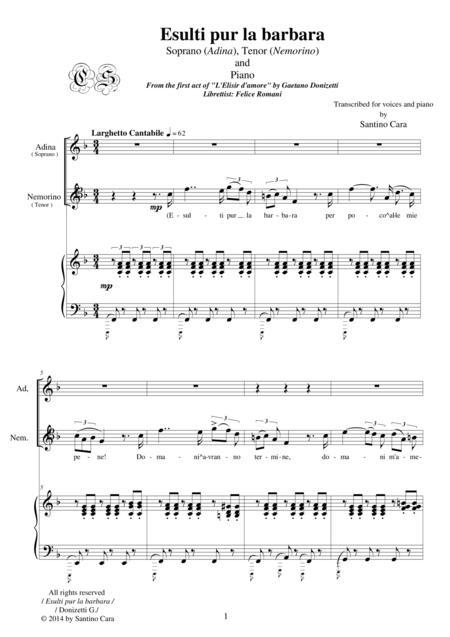 Donizetti-L'Elisir d'amore-Esulti pur la barbara (Act1) Soprano,tenor and piano