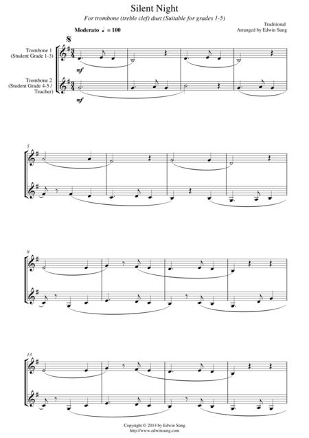 Silent Night (for trombone duet (treble clef), suitable for grades 1-5)