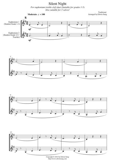Silent Night (for euphonium duet (Bb treble, 3 or 4 valved), suitable for grades 1-5)
