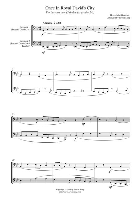 Once In Royal David's City (for bassoon duet, suitable for grades 2-6)