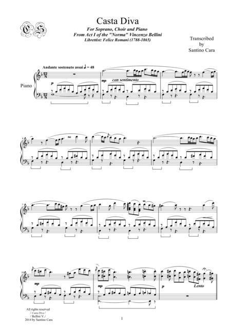 Bellini-Norma (Act1) Casta Diva - Soprano solo, Chorus SSTB) and Piano