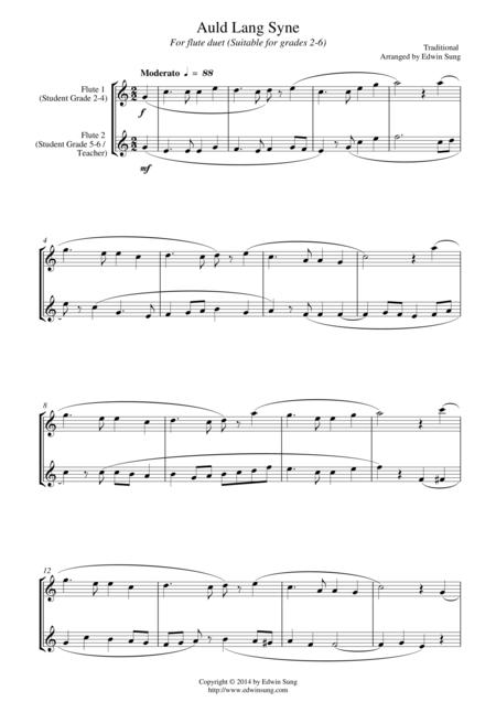 Auld Lang Syne (for flute duet, suitable for grades 2-6)