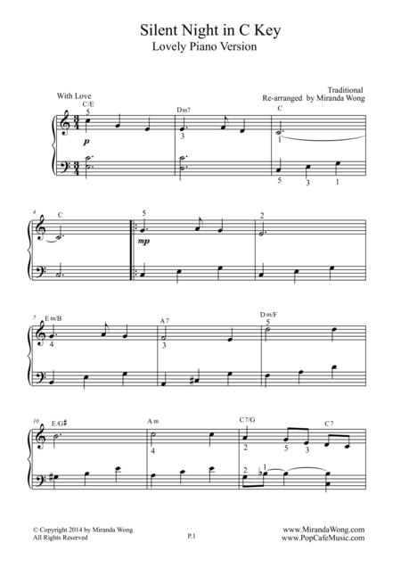 Download Silent Night In C Key Children Piano Music Sheet Music By