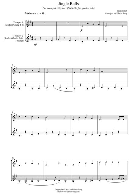 Jingle Bells (for trumpet (Bb) duet, suitable for grades 2-6)