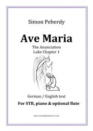 Ave Maria in B flat for STB voices, piano & optional flute. (The Annunciation, Luke Chapter 1). A Carol for Christmas / Advent.
