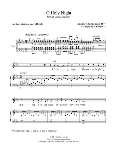 Download O Holy Night High E Flat Major Sheet Music By Adolphe