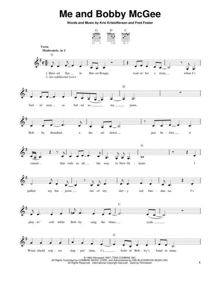 Download Me And Bobby McGee Sheet Music By Janis Joplin - Sheet ...