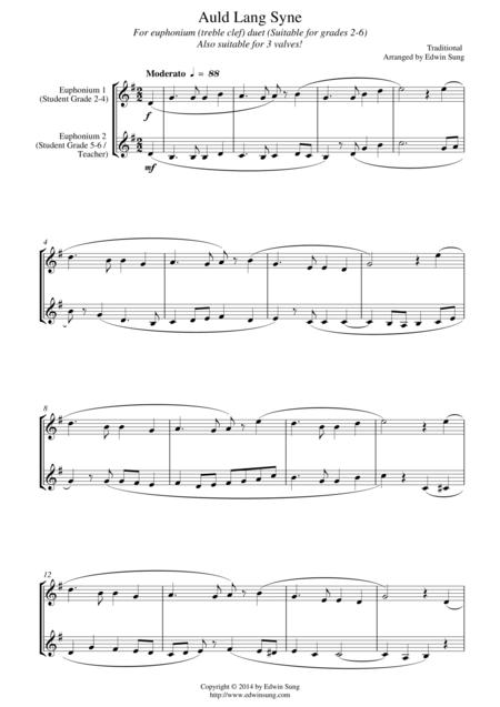 Auld Lang Syne (for euphonium duet (Bb treble, 3 or 4 valved), suitable for grades 2-6)