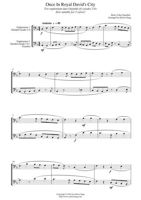 Once In Royal David's City (for euphonium duet (bass clef, 3 or 4 valved), suitable for grades 2-6)