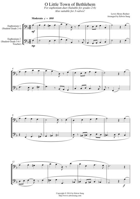 O Little Town of Bethlehem (for euphonium duet (bass clef, 3 or 4 valved), suitable for grades 2-6)