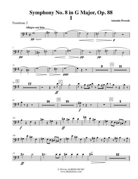 Dvorak Symphony No. 8, Movement I - Trombone in Bass Clef 2 (Transposed Part), Op. 88