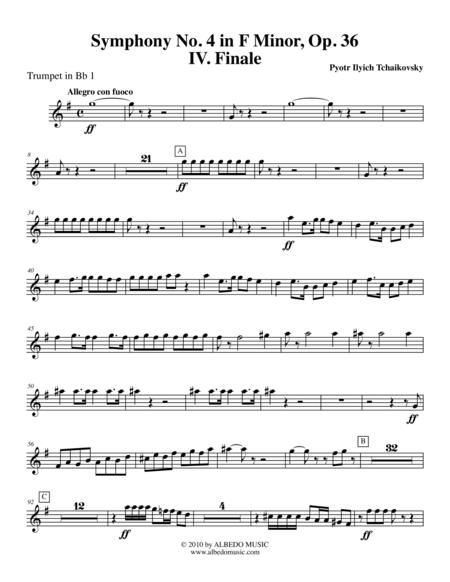 Tchaikovsky Symphony No. 4, Movement IV - Trumpet in Bb 1 (Transposed Part), Op. 36