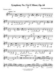 Tchaikovsky Symphony No. 5, Movement I - Clarinet in Bb 1 (Transposed Part), Op. 64