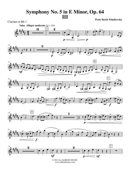 Tchaikovsky Symphony No. 5, Movement III - Clarinet in Bb 1 (Transposed Part), Op. 64