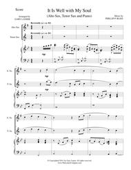 IT IS WELL WITH MY SOUL (Trio - Alto Sax/Tenor Sax and Piano with Score and Parts)