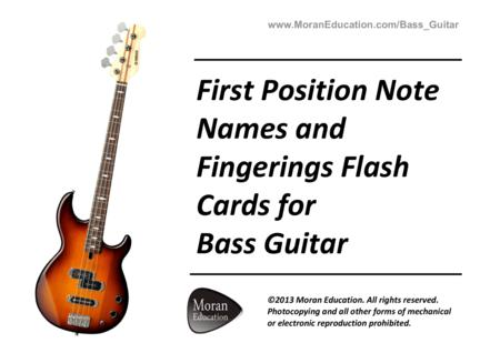 Bass Guitar First Position Note Names and Fingerings Flash Cards