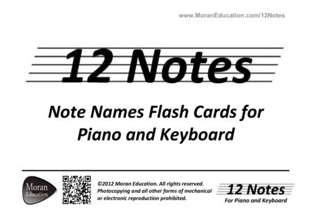Download Piano And Keyboard Note Names Flash Cards Sheet Music By