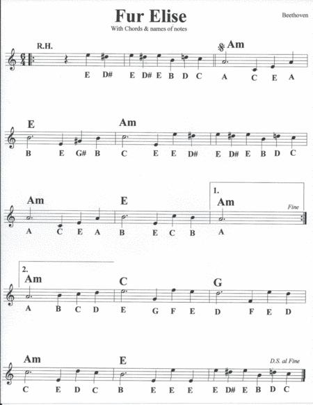 Download Fur Elise With Chords Names Of Notes Sheet Music By
