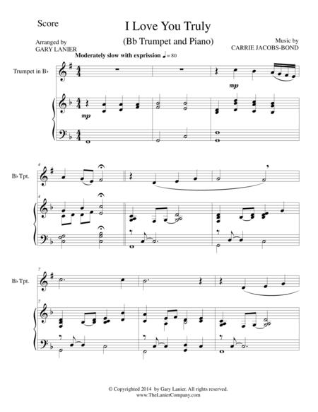 I LOVE YOU TRULY (Duet for Bb Trumpet/Piano with Score and Parts)