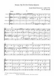 Sonata Op.34-6 for Clarinet Quartet