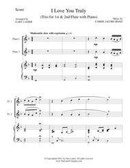 I LOVE YOU TRULY (Trio – Flute 1, Flute 2, and Piano with Score and Flt Parts)