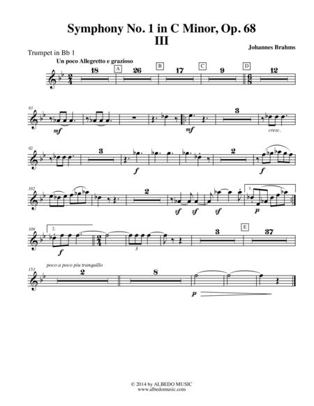 Brahms Symphony No. 1, Movement III - Trumpet in Bb 1 (Transposed Part), Op. 68