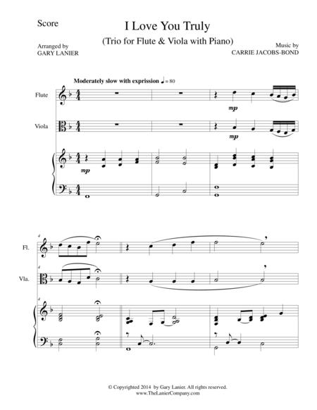 I LOVE YOU TRULY (Trio – Flute, Viola, and Piano with Score and Parts)