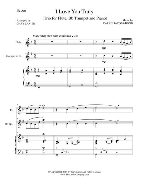 I LOVE YOU TRULY (Trio – Flute, Bb Trumpet, and Piano with Score and Parts)