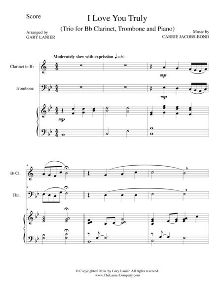 I LOVE YOU TRULY (Trio – Bb Clarinet, Trombone, and Piano with Score and Parts)