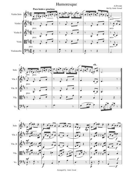 Dvorak Humoresque for Violin Solo with String Orchestra