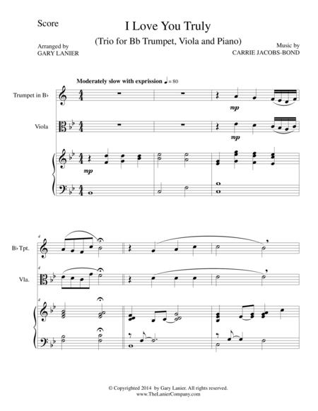 I LOVE YOU TRULY (Trio – Bb Trumpet, Viola, and Piano with Score and Parts)