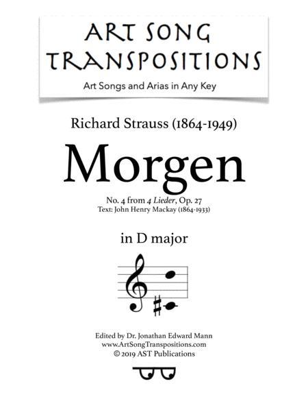 Morgen, Op. 27 no. 4 (D major)
