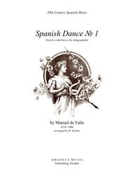 Spanish Dance No. 1 from La vida breve for string quartet