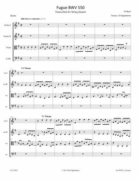 Bach: Fugue BWV 550 Arranged for String Quartet