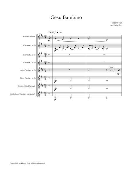 Gesu Bambino, for Clarinet Choir