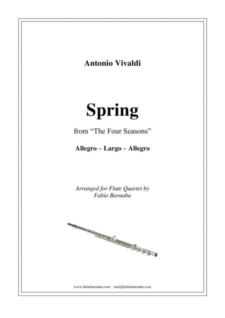 The Four Seasons - Spring - for Flute Quartet or Flute Choir