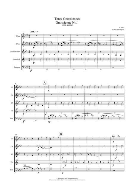 Satie: Trois (Three) Gnossiennes (Nos.1,2 & 3) - wind quintet