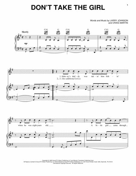 Don 039 T Take The Girl By Tim Mcgraw Larry Johnson Digital Sheet Music For Piano Vocal Guitar Chords Only Download Print Hx 298596 Sheet Music Plus