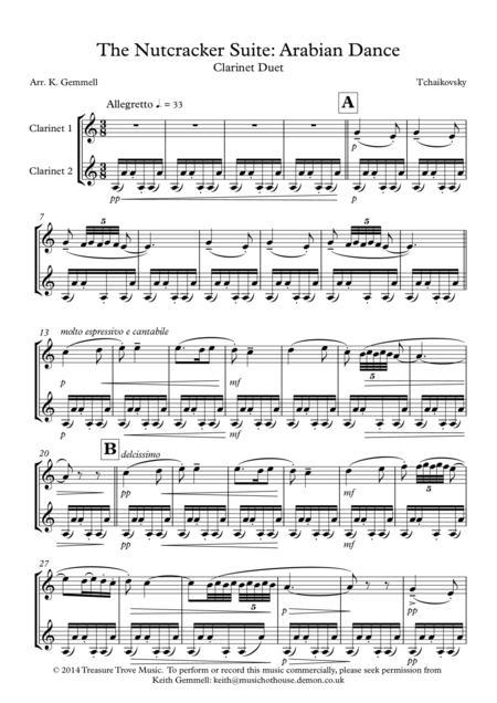 nutcracker suite - arabian dance: clarinet duet by - digital sheet music  for score,set of parts - download & print s0.37411 | sheet music plus  sheet music plus