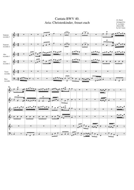 Aria: Christenkinder, freuet euch from Cantata BWV 40 (arrangement for 6 recorders)